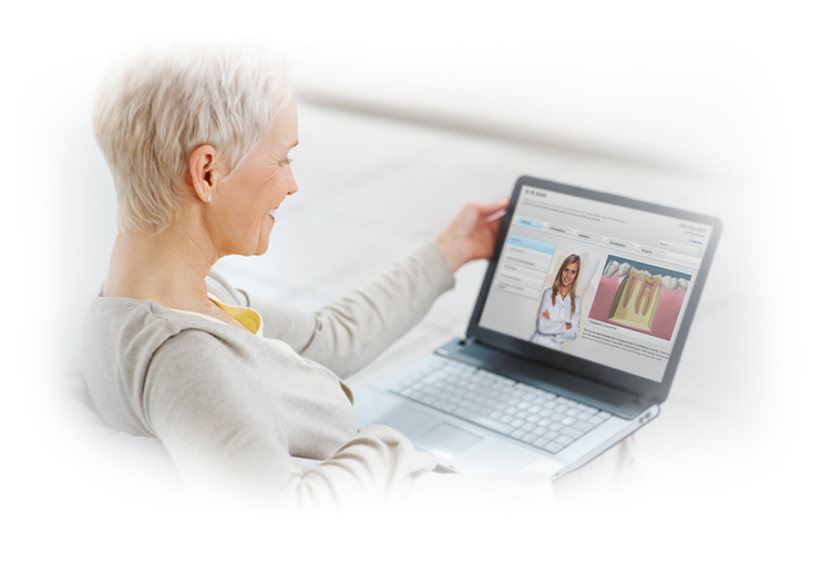 dental patient looking at dental video website